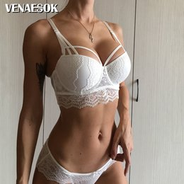 $enCountryForm.capitalKeyWord Australia - 2019 Top Hot Sexy Underwear Push up Bra Set Cotton Deep V Brassiere White 3 4 Cup Green Lace Bras Women Lingerie Set Embroidery