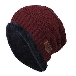 beanies hombres 2019 - Russian Hat Unisex Fashion Fleece Knitted Warm Winter Hats Plus velvet Leisure Ski Cap gorro ruso hombre cheap beanies h