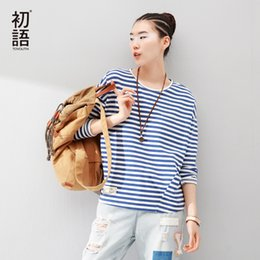 dolman tees NZ - Toyouth Female T-shirt Vintage Women Long Sleeve Striped Tops Women's Clothing 2018 Cotton Tee Shirt Femme Spring Autumn Tshirt Y19042202