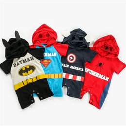 boys short transparent NZ - Baby Boy Girl Avenger 4 Rompers Cartoon Superman Spiderman Captain America Jumpsuit Short Sleeve Hooded Romper Kid Jumpsuits Cosplay Clothes