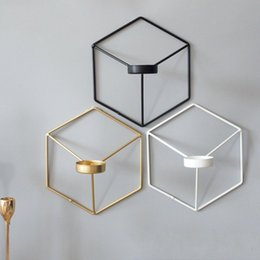 Modern wall Metal art online shopping - Household D Geometry Candlestick Wall Hanging Metal Hexagon Candle Holder Nordic Style Fall To Resistant Candler Creative mb BB
