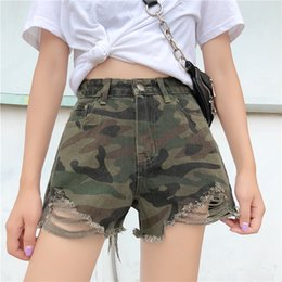 Plus Size Camouflage Jeans NZ - 2018 New Arrival Casual Camouflage Shorts Summer Hot Sale Denim Women High Waists Fur-Lined Leg-Openings Plus Size Sexy Jeans
