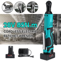 inch wrench NZ - 28V Electric Wrench 3 8 Inch Cordless Ratchet Right Angle Wrench with 1 2 Batteries Kit Rechargeable Scaffolding 85N.m Max Y200323