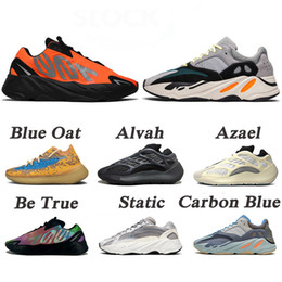 running shoes wave NZ - New Kanye West 700 Wave Runner Azael Alien Blue Oat Mist Vanta Running Sports Shoes Mens Womens Outdoors Sneakers Trainers Size EUR 46