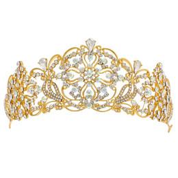 Discount delicate crowns - Women Elegant Luxury Crystal Tiara Crown Bridal Wedding Fashion Hair Accessories Ladies Delicate Shining Rhinestone Head