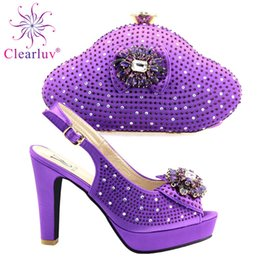 Shoe Purse Matching Australia - High class high heel sandal shoes matching with purse bag set with stones for lady 666-1 heel height 11CM