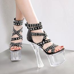$enCountryForm.capitalKeyWord Australia - Magical2019 High Super 18cm Women's Shoes Waterproof Platform Transparent Rivet Punk Crystal Coarse With Sandals Nightclub