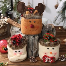cupcake trees 2019 - Christmas Tree Packing Bags Cupcakes Cookies Apple Box With Small Bell Drawstring Candy Gift Bags For Christmas Decorati