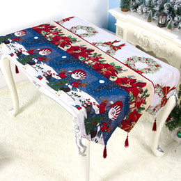 embroidery flower tablecloth NZ - 180*35cm Christmas Decorations Tablecloth Cotton Linen Embroidery Flowers Printing Table Flag Birthday Party Table Supplies DHL WX9-1716