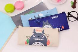 $enCountryForm.capitalKeyWord NZ - 200pcs Cosmetic Bags Student Oxford Cartoon Miyazaki Totoro Pencil Bags 19*9cm