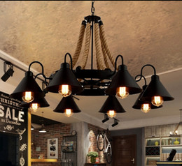 Lofts cLothing online shopping - American Village Rope Iron Chandeliers Loft Industrial Living Room Restaurant Coffee Bar Clothing Store Cafe Lamp