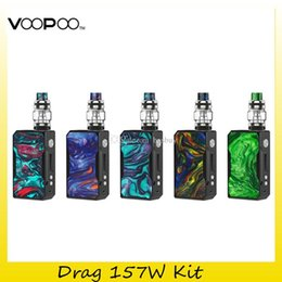 t1 battery NZ - Authentic Voopoo Black Drag 157W Kit 2x 18650 Battery Resin TC Box Mod For Original 8ml Uforce T1 Tank U2 Coil 100% Genuine
