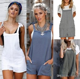 Fashion Cotton Women Jumpsuit NZ - Summer Jumpsuits Women Overall Rompers Casual Fashion Loose Cotton Pocket Bib Pants Spring Short Romper