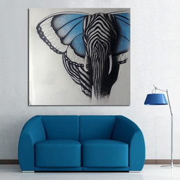 butterfly oil canvas NZ - Abstract Wall Art Handpainted Oil Painting Beautiful Butterfly Elephant Paintings on Canvas Modern Art Animal Picture Home Decor