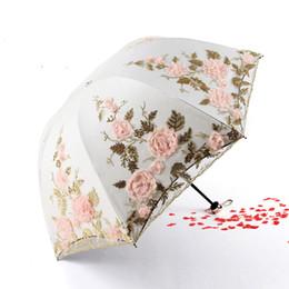 $enCountryForm.capitalKeyWord NZ - Embroidered Windproof Umbrella Lace Folding Sunscreen Designer Umbrella Outdoor Rainproof Wedding Bridesmaid Bridal Umbrella Free Shipping