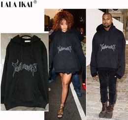 tyga pullover NZ - Oversized Hoodies Men Hooded Letter Vetements Kanye West Brand Cotton Sweatshirts Men Swag Tyga Brand SMR0578-4