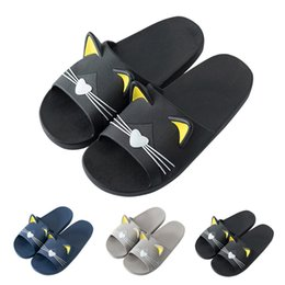 05f386b40f4a86 Women Home Indoors Slippers Cartoon Cat Floor Family Shoes Beach Sandals  Cartoon cat home shoes non-slip slippers sapatos