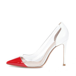 American Leather Shoes Australia - Dancing Party Shopping Fashion PVC Stitching High Heel Shoes Patent Leather Pointed Toe Fine Heel Euro-American Style Women Stiletto Heels