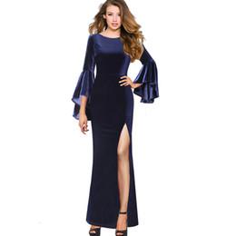 7889e4e3c53 Vfemage Womens Autumn Winter Elegant Ruffle Flare Bell Sleeve Velvet High  Slit Formal Evening Party Bodycon Maxi Long Dress 1061