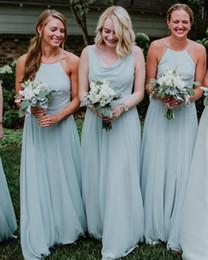 Mint green halter bridesMaid dress online shopping - Mint Green Chiffon Bohemian Cheap Bridesmaids Dresses A Line Beach Halter Neck Maid of Honor Dress Wedding Guest Dress BM0382