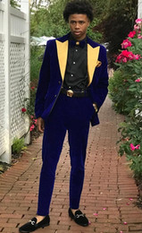 $enCountryForm.capitalKeyWord UK - Velvet Groom Tuxedos Blue Men Wedding Tuxedos Yellow Peak Lapel Popular Men Business Dinner Darty Jacket Blazer Suit(Jacket+Pants+Tie)