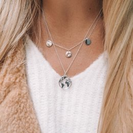 Christmas Gifts Mothers Australia - The sweater chain World Map Multilayer Decoration pendant necklacesLove Heart Necklace Pendant Mothers Day Christmas Gifts Free Shipping