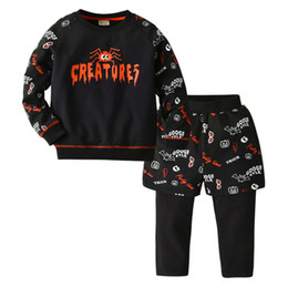 Discount baby boy black clothes - Boys cartoon sports casual outfits kids spider letter printed sweatshirt+fake two piece pants 2pcs sets 2019 fall new ba