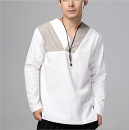 Chinese design suits online shopping - New Design Linen Younge men s clothing Ethnic Shirt top male wear Autumn Chinese style flax long sleeves Retro Tang Suit top