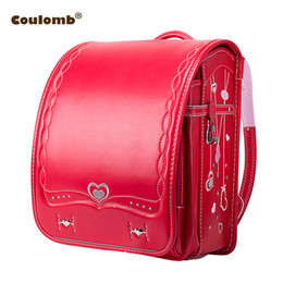 Coulomb Orthopedic School Bag Children Backpack For Boy And Girl For Kid PU  Hasp Japan Randoseru Kid Bag Love Necklace 2018 New Y18120303 0ea8eba63c