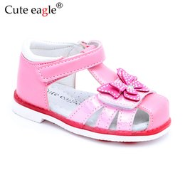 $enCountryForm.capitalKeyWord NZ - Cute Eagle Summer Girls Orthopedic Sandals Pu Leather Toddler Kids Shoes For Girls Closed Toe Baby Flat Shoes Size 21-26 Newest MX190727