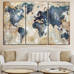 canvas wall art world map UK - 3 Pcs set Watercolor World Map Modular Painting Wall Art for Living Room Home Decor (No Frame)