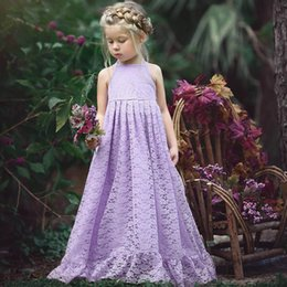 Kids Backless Clothes Australia - Child Kid Girls Lace Flower Backless Strap Princess Party FormalDress Clothes belle dress dress kids wedding dresses