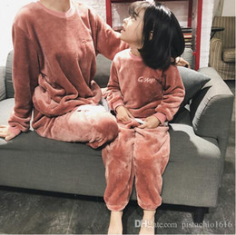 parent child clothing NZ - Girls' clothing autumn and winter new coral fleece long-sleeved parent-child pajamas female women's home service suit