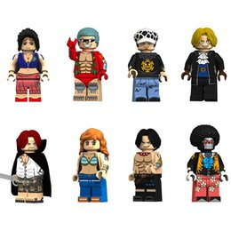 One Piece Trafalgar Figure Australia - Japan Anime Cartoon One Piece Luffy Ace Franky Brook Nami Robin Sabo Akakami no Shankusu Trafalgar Law Mini Toy Figure Building Block
