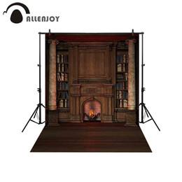 Canvas Backdrop UK - heap Background Allenjoy backdrop for photographic studio Vintage private library bookcase fireplace Roman column photo background photoc...