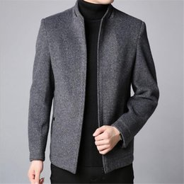 47516be3816cd Winter Fashion Brand Coat Men Slim Fit 30%Wool Peacoat Warm Jackets Wool  Blends Overcoat Designer Casual Mens Clothes