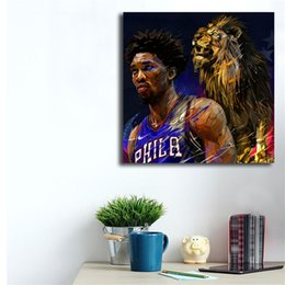 $enCountryForm.capitalKeyWord NZ - Basketball Player Joel Embiid Illustration Yann Dalon Canvas Posters Prints Wall Art Painting Decorative Picture Modern Home Decoration HD