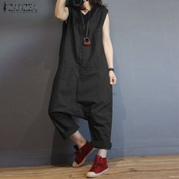 Women S Cotton Jumpsuits NZ - S-5xl Zanzea Vintage Women Cotton Linen Rompers Sleeveless Casual Solid Loose Drop Crotch Harem Pants Summer Jumpsuits Overalls Y19051501