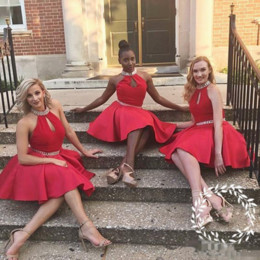 Cheap Red Coral Beads Australia - African Red Cheap Short Bridesmaid Dresses A Line Knee Length Satin Halter Party Dress With Sash Beads Sequins Maid Of Honor Dress