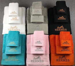 Adult bAth towel sets online shopping - With Box Letter Embroidery Cotton Towel Fashion Soft Towel Sets Pure Color Gift Box Towel