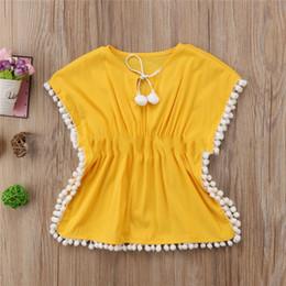 $enCountryForm.capitalKeyWord Australia - Child Girl Bat Shirt Beach Tassel Dress Camisa Dolman Kids Baby Lovely Summer Bathing Suit Short Sleeve Yellow 25yc C1