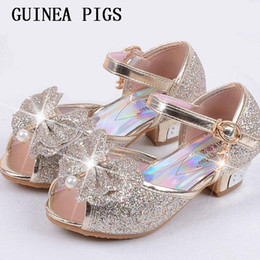 gold sandals for girls NZ - Children Sandals For Girls Weddings Girls Sandals Crystal High Heel Shoes Banquet Pink Gold Blue Gold GUINEA PIGS Brand Y200103
