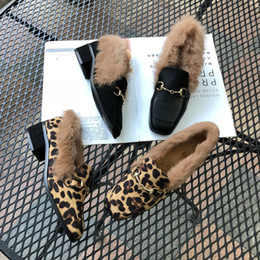 leopard hair shoes UK - Pretty2019 Rabbit's Really Comfortable Hair Single Shoe Square Leopard Print Coarse With Women's Shoes