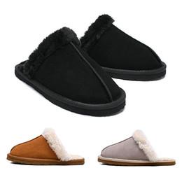 Ladies bLue sandaLs online shopping - Super Warm Comfortable Black WGG Women Girls Slides Winter Luxury Designer Fur Brand Indoor Slippers With Spike Lady Sandal Size