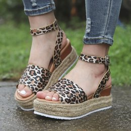 open toe leopard sandals Australia - 1Summer Women Leopard Sandals Pu Leather Ankle Buckle Peep Toe Flat Platform Female Shoes Summer Thick Bottom Plus Size Footwear