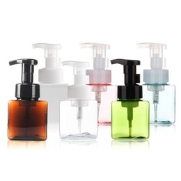 Silicone Liquid Bottle UK - 250ml 8.5oz Square Refillable Foam Bottle Foaming Soap Shampoo Dispenser Pump Container Liquid Bottles for Kitchen Bathroom