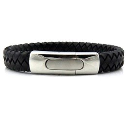 Janeyacy Brand Fashion Men Charm Bracelet Black Leather Bracelet Stainless Steel Magnetic Clasps Bracelets Male Vintage Jewelry To Enjoy High Reputation At Home And Abroad Jewelry & Accessories