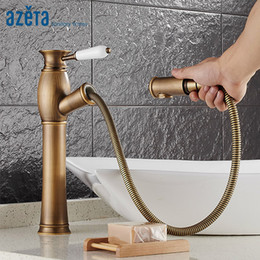 vintage faucet handles Australia - Azeta Vintage Bathroom Faucet Pull Out Basin Mixer Tap Antique Brass Basin Tap Single Handle Bathroom Faucet 1606HA
