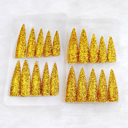 long finger nails Australia - Golden Glitter Fake Long Nails Witch Gold Powder Nails Adult Finger Pointed Long Nails for Halloween Christmas