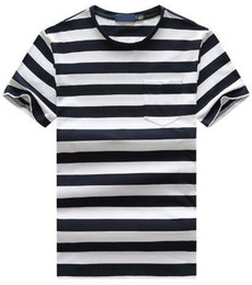 Polo Tees Tops Sports UK - Supply Fashion Men Striped Polo T-Shirts America Style Boys Casual T Shirt Small Pony Embroidery O-Neck Sport Tees Tops Red White